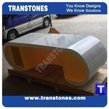 Furniture Manufacture Orange Acrylic Aritificial Marble Stone Counter Tops,Office Reception Desk Table Design,Solid Surface Engineered Stone Lobby Work Counter Tops