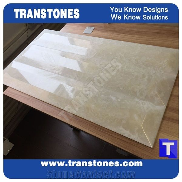 High Gloss Artificial Marble Beige Spray Silver Faux Slabs For Reception Desk Wall Panel Celing Floor Covering Solid Surface Engineered Gl Resin Stone