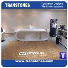Modern Design White Acrylic Artificial Stone Marble Office President Table,Engineered Stone Interior Furniture U Shaped Work Desk,Solid Surface Transtones Customized
