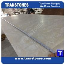 Polished Beige Delicate Cream Faux Marble Artificial Stones Wall Panel,Glass Resin Acrylic Building Material