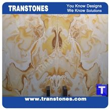 Rusty Spray Wave Ivory Beige Artificial Beige Onyx Wall Cladding Panel Floor Covering Tiles Vein Cut Solid Surface Translucent Backlit Cream Resin Glass Alabaster Stone for Bar Tops,Reception Table
