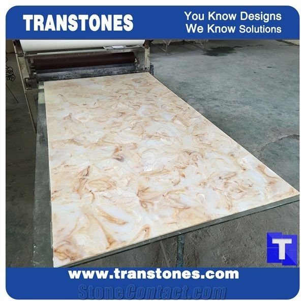 Solid Surface Artificial Marble Slabs Polished For Kitchen Islands Top Hotel Reception Desk Table Translucent Backlit Wall Panel Sheet Gl Stone