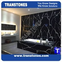 Solid Surface Artificial Nero Calacatta Quartz Marble Slabs Tiles for Wall Panel,Bathtub Surround Coveirng,Black Engineered Stone,China Professinal Interior Manufacture