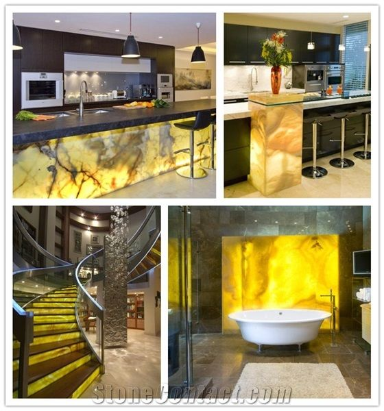 Solid Surface Artificial Yellow Onice Onyx Translucent
