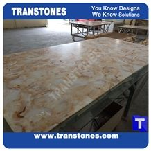 Solid Surface Beige Avalanche Artificial Marble Glass Stone Slabs for Reception Desk,Table Translucent Backlit Panel Wall Cladding