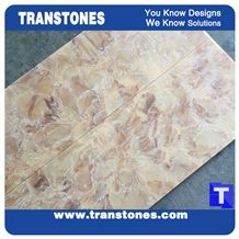 Solid Surface Imperial Rose Yellow Artifical Marble Slabs Honed Wall Panel Tiles for Ceiling,Hotel Reception Table Customized Edges Translucent Backlit Resin Glass Stone