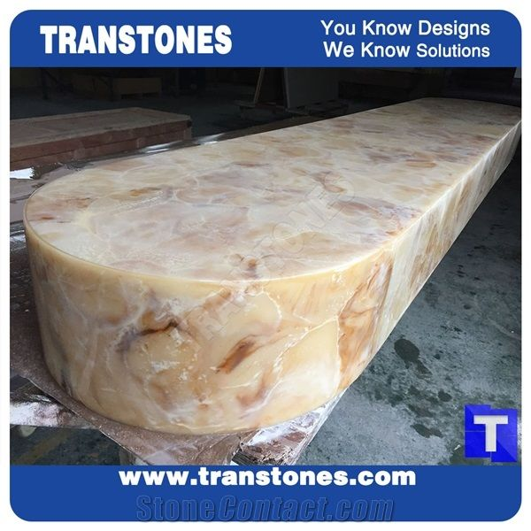 Solid Surface Yellow Spray Wave Faux Onyx Curved Reception Desk,Interior  Tabletop Panel Furniture Stone,Artificial Alabaster