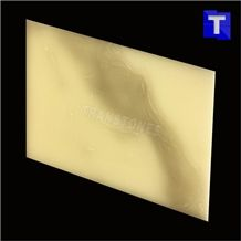 Translucent Backlit Artificial Stone Bianco Calacatta Gold Marble Panel Tile for Reception Desk,Table, Consulting Counter Top,Engineered Glass Stone Solid Surface Transtones Customzied