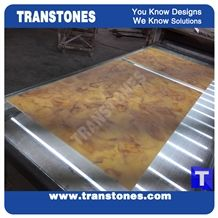 Translucent Yellow Dream Artificial Marble Slabs Tile for Wall Panel Floor Covering Paving,Translucent Backlit Crystallized Spray Wave Marble Look Glass Resin Golden Shell Marble Stone