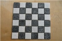 Quartzite with Balck and White Color Split Face Brick Mosaic Composited Mosaic