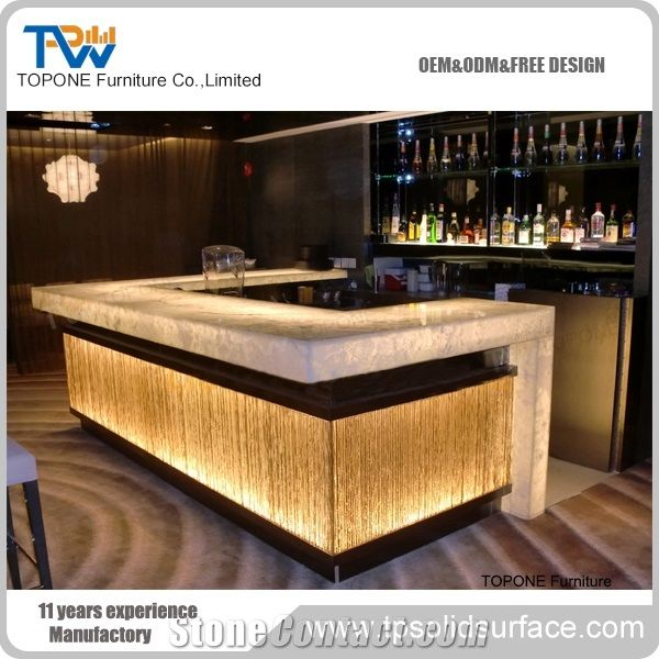 Home Bar Counter: Artificial Marble Stone Led Home Bar Counter Designs