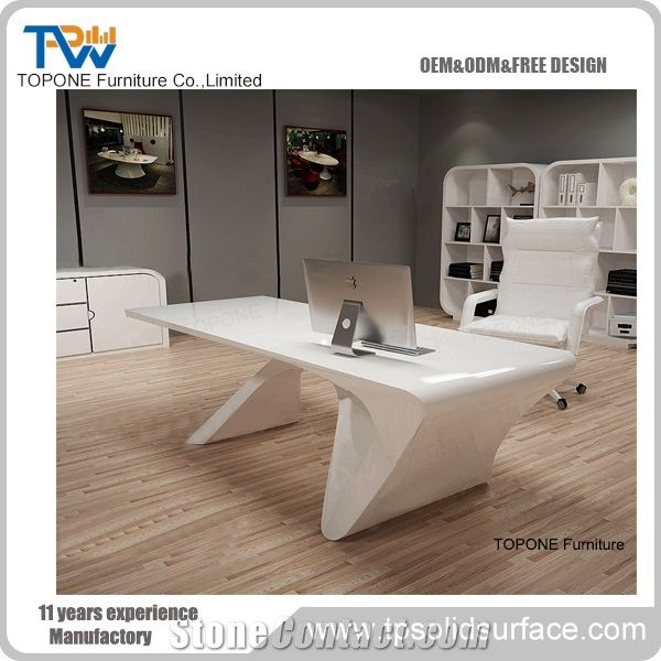 New Design Fashion Artificial Marble Stone Executive Office Desk Interior Acrylic Solid Surface White Tops Factory