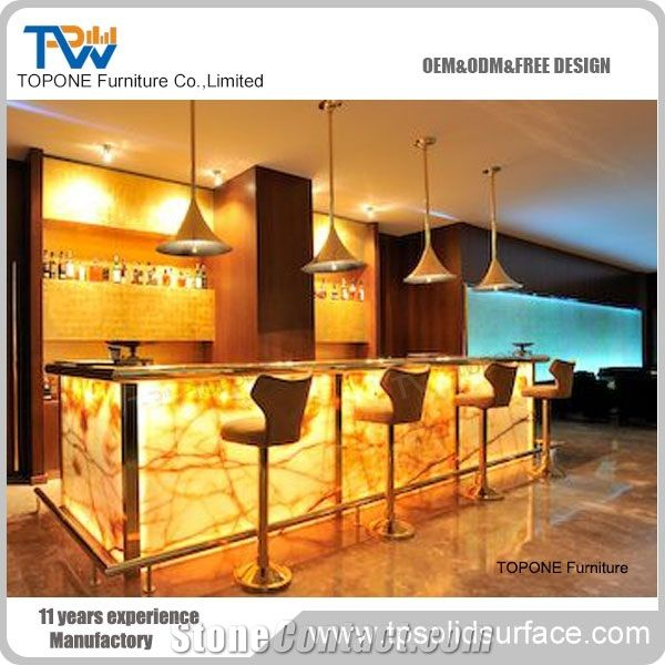Yellow Color Illuminated Artificial Marble Stone Bar Counter Design With Best Price Acrylic Solid Surface Interior Table Tops