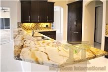 Roma Imperial Counter Tops/Roman Empire/Beautiful Yellow Brazil Quartzite,Polished,Kitchen Counter Tops