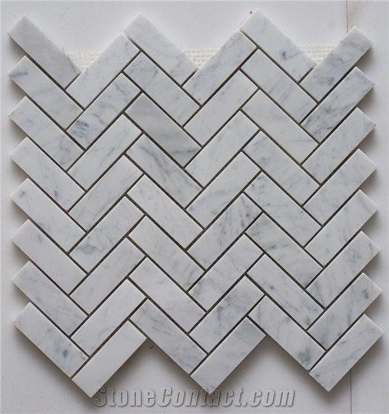 Polished 1x3 Herringbone Marble Mosaic