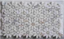 White Marble Flower Design Mosaic Tile,Stone Mosaic Pattern, China Marble Flower Flash Mosaic Tile,Italy Marble