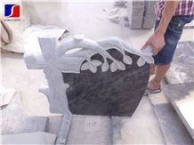 Bahama Blue Polished with Heart Monument & Tombstone,Bahama Blue Granite French Style Tombstone with Engraved Tree,Granite Momument