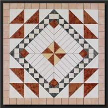 Rosette for Flooring. 70x70 Cm, on Fiberglass Mesh, Rosso Verona, Verde Guatemala, Bianco Antico, Rosa Perlino, Giallo Cleopatra