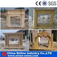 Beige Limestone Fireplace Mantel