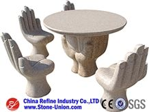Light Yellow Stone Table, Garden Granite Stone Table / Benches, Garden Stone Tables and Chairs