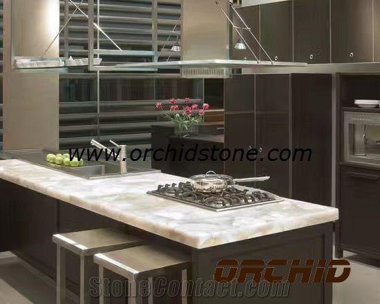 Backlit Semi Precious Wild Crystal Quartz Kitchen