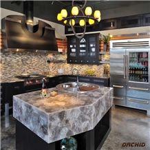 Smoky Quartz/Grey Quartz Translucent Semi Precious Stone/Gemstone for Kitchen Countertops,Island Tops,Bar Tops,Basin Tops,Custom Design Countertops