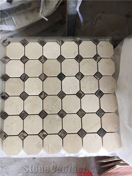 Octagon Mosaic Tile Marble Crema Marfil