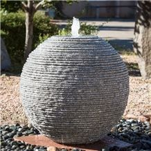 Garden Grey Granite Stone Sphere Ball Fountain