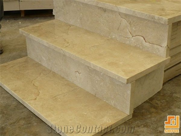 Beige Marble Stone Indoor And Outdoor Stair Steps And Risers,Cream Marfil  Marble Stone Stairs And Steps,Crema Marfil Natural Stone Staircase