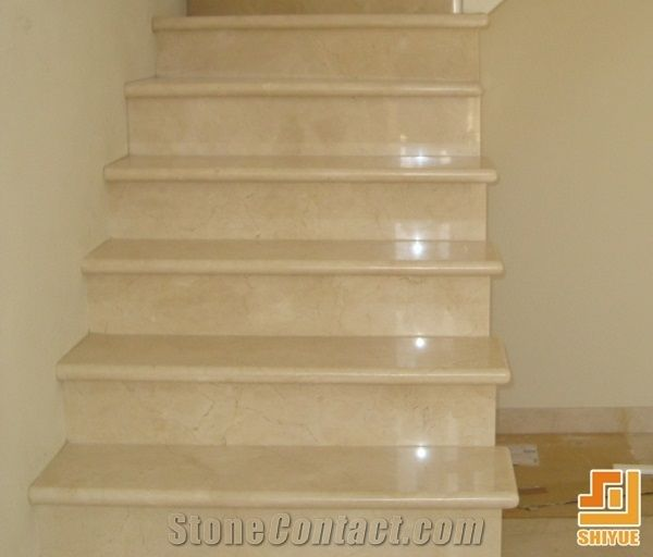 Cream Marfil Marble Stone Stairs And Steps,Crema Marfil Natural Stone  Staircase,Beige Marble Stone Indoor And Outdoor Stair Steps And Risers