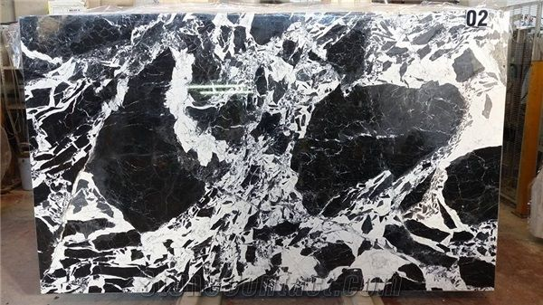 French Marble Black And White Grand Antic From France
