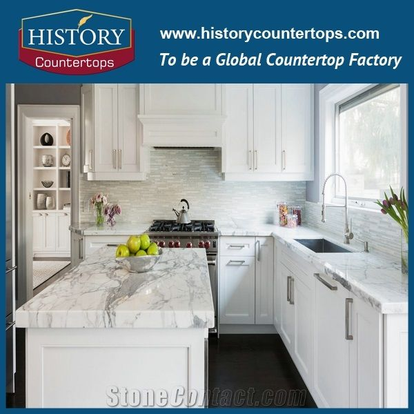 Staturary White Marble Kitchen Island Tops Worktops Bench Tops With Laminatede Bullnose Or Customized Edges Natural Stone Countertops Polished Surface For Multi Family Projects From China Stonecontact Com