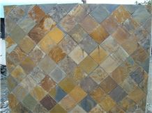 China Rusty Natural Slate Mosaic,High Quality Slate Mosaic for Inside or Outside Decoration