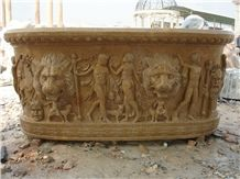 Hand Carved Yellow Limestone Bathtub with Sculptures
