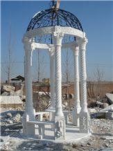 White Marble Column Gazebo for Garden