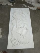 White Marble Hand Carved Relief for Wall