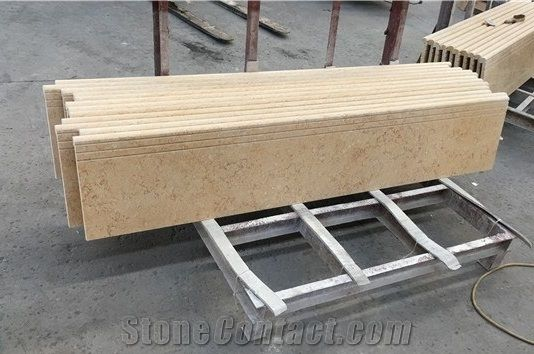 Lovely Beige Marble ,Sunny Beige Stairs , Cheap Stairs And Steps Made In China ,  Natural Marble Stair Treads And Staircase Risers