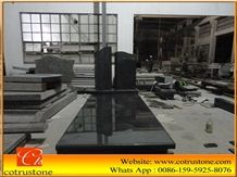 China Impala Black Granite Gravestone,Headstone,Cross Tombstone,Misty Impala Black Granite Monument, Grey Granite Monument & Tombstone,G654 Granite Tombstone&Monument Design
