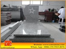G603 Tombstone&Monument, Tombstone&Monument Granite Monuments,North G603 White Sesame Granite Western European and Poland Style Double Tombstones Bed Competitive Prices