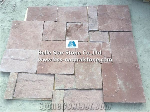 Red Sandstone Wall Tiles Sandstone Retaining Wall Red Stone Cladding Landscaping Wall Facade Stone Red Sandstone Back Splash Red Sandstone Tiles Outdoor Wall Covering Natural Stone Wall Tiles Belle Star Stone Co Ltd