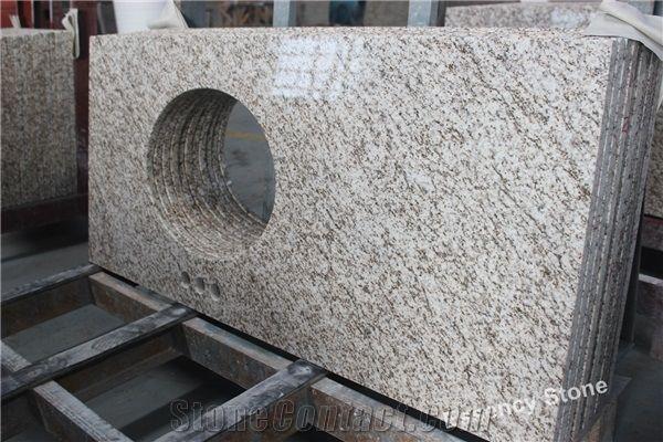 Thailand White Granite Bath Countertops, Sesame White Granite With Yellow  Vein Vanity Tops