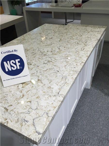 Bianco Drift Quartz Stone Kitchen Countertop Engineered