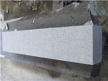 Fujian Grey Granite G654, Sesame Grey, China Light Grey Granite, China Impala Flamed Kerbstone 100x15x25cm, 2 Faces Flamed, One Edge Chamfer