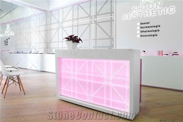 Pure White Quartz Stone Acrylic Reception Desk Tabletop