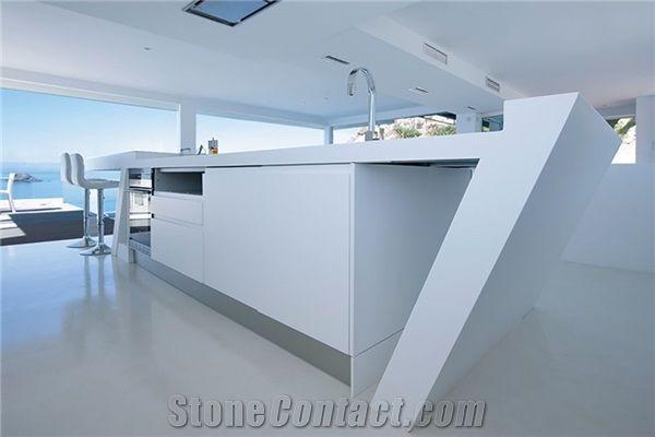 Solid Surface Bianco Carrara White Faux Marble Artificial Stones Kitchen  Countertop,Corian Kitchen Work Top   Transtones Decorating Materials Co.,  Ltd.
