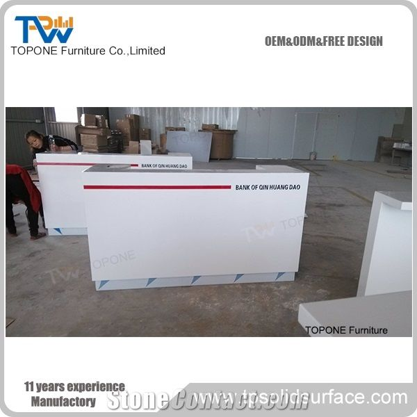 Straight White Artificial Marble Stone Bank Reception Counter Tops Design Factory Direct Cheap Price Interior Stone Acrylic Solid Surface White Straight Bank Front Table Tops Design Bank Furniture From China Stonecontact Com