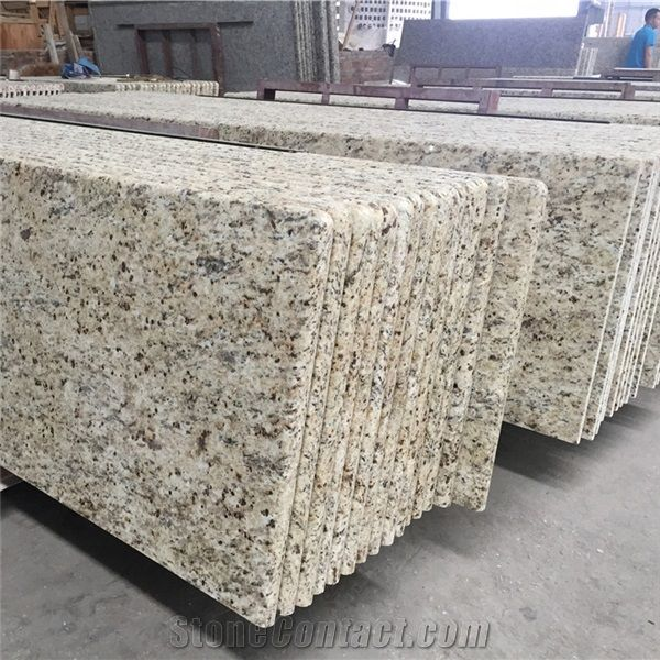 Giallo Ornamental Granite Countertops Prefab Brazil Kitchen Tops Laminated Bullnosed