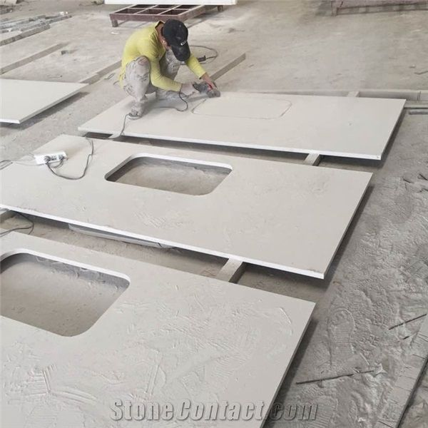 White Quartz Countertops Kitchen Undermount Sink Cut Out Commercial Used Tops