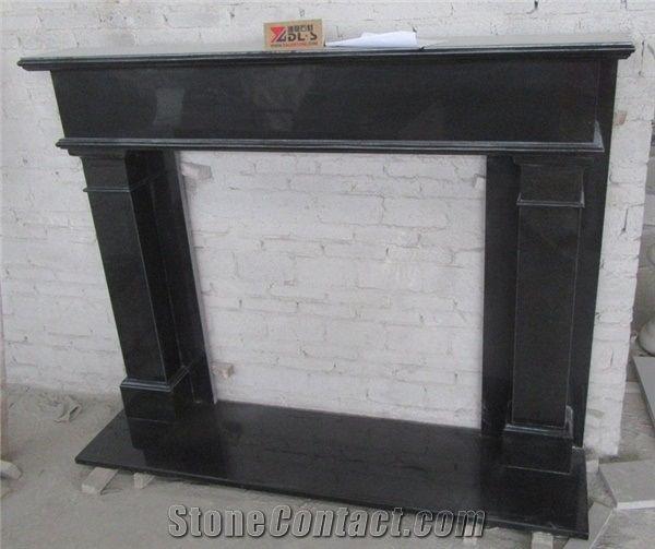 Nero Assoluto Granite Indian, Black Granite Tile Fireplace Surround
