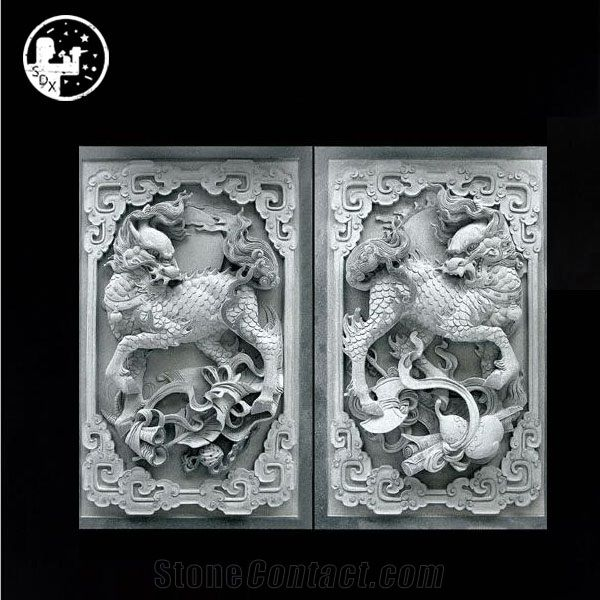 Handcraft Relief Granite Design Hand Carved Flower Natural Stone